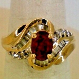 14K Yellow Gold Diamond Ruby Fashion Ring .50TCW